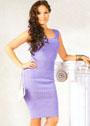 Элегантное сиреневое платье с полосами узора дырочки. Крючок