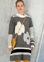 Шерстяное мини-платье с крупными цветочными мотивами. Крючок