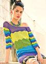 Туника в разноцветную зигзагообразную полоску. Крючок