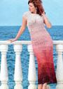 Длинное летнее платье из пряжи секционного крашения. Крючок