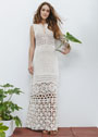 Элегантное длинное платье с сочетанием узоров. Крючок