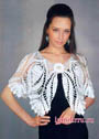 Элегантная женственная накидка Белый танец. Крючок