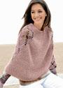 Дымчато-розовое теплое пончо с ажурными вставками. Крючок