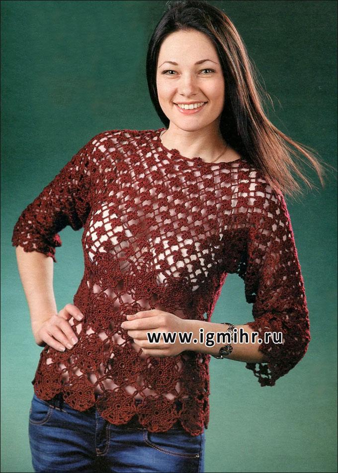 Бордовый ажурный пуловер с цветочными мотивами. Крючок