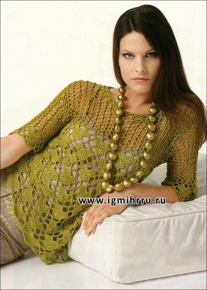 Ажурный летний пуловер зеленого цвета. Крючок и Спицы