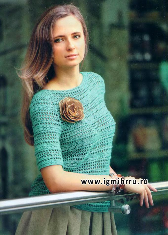 Женственный пуловер изумрудного цвета с короткими рукавами. Крючок