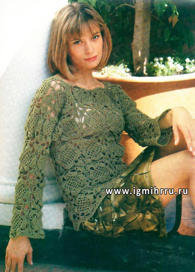 Кружевной зеленый пуловер мотивами. Крючок