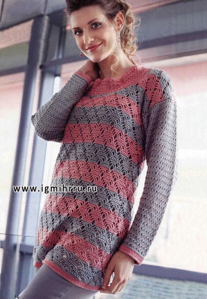 Удлиненный серо-розовый пуловер комбинированной вязки. Крючок и Спицы