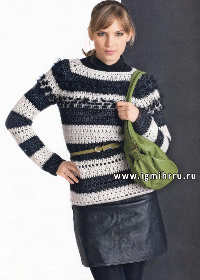 Выразительные контрасты. Черно-белый полосатый пуловер-реглан. Крючок