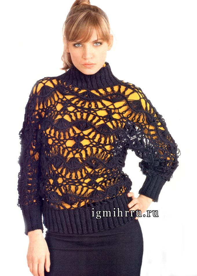 Воздушный черный пуловер, связанный на вилке. Крючок