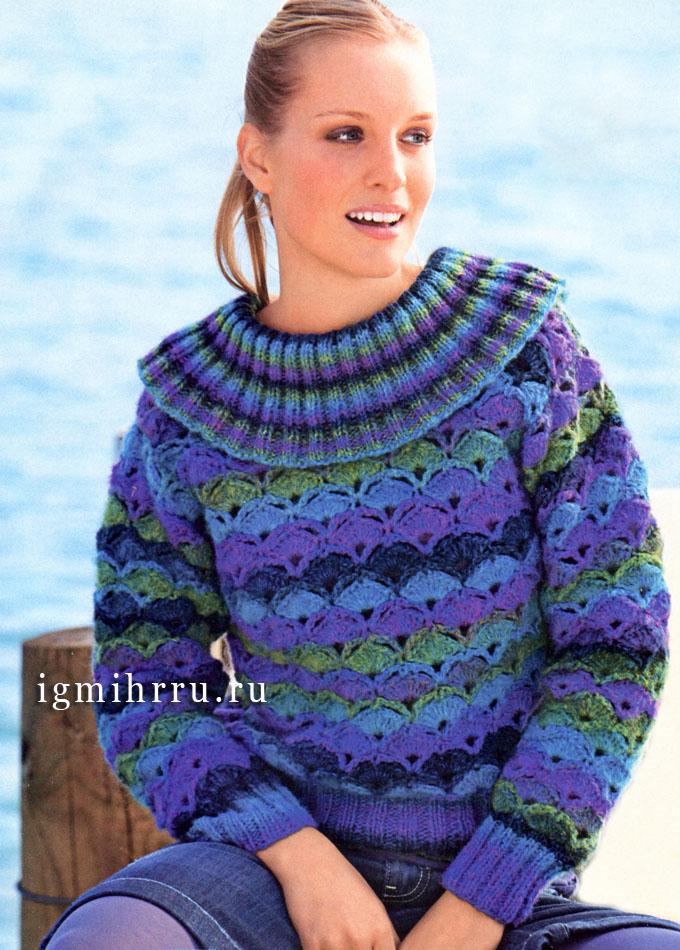 Меланжевый пуловер с широким воротником. Крючок и Спицы