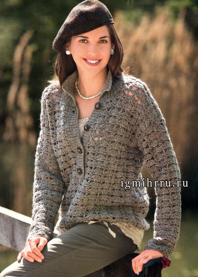 Теплый и мягкий пуловер-поло с узором из ракушек. Крючок