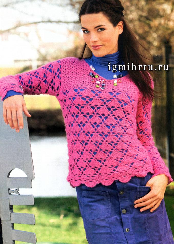 Ярко-розовый пуловер с веерным узором. Крючок
