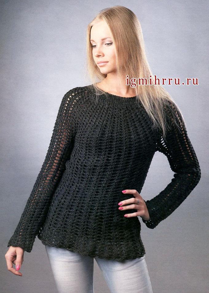 Черный ажурный пуловер, связанный вкруговую сверху вниз. Крючок