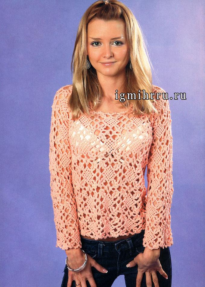 Воздушный ажур. Пуловер персикового цвета из квадратных мотивов. Крючок