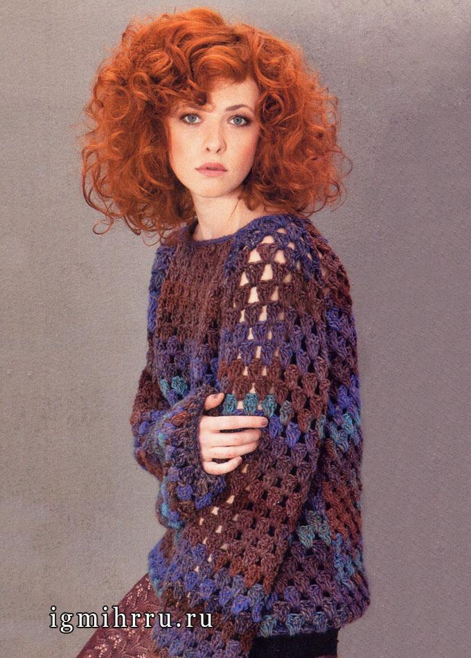 Пуловер-реглан с узором из отверстий, Lana Grossa. Крючок