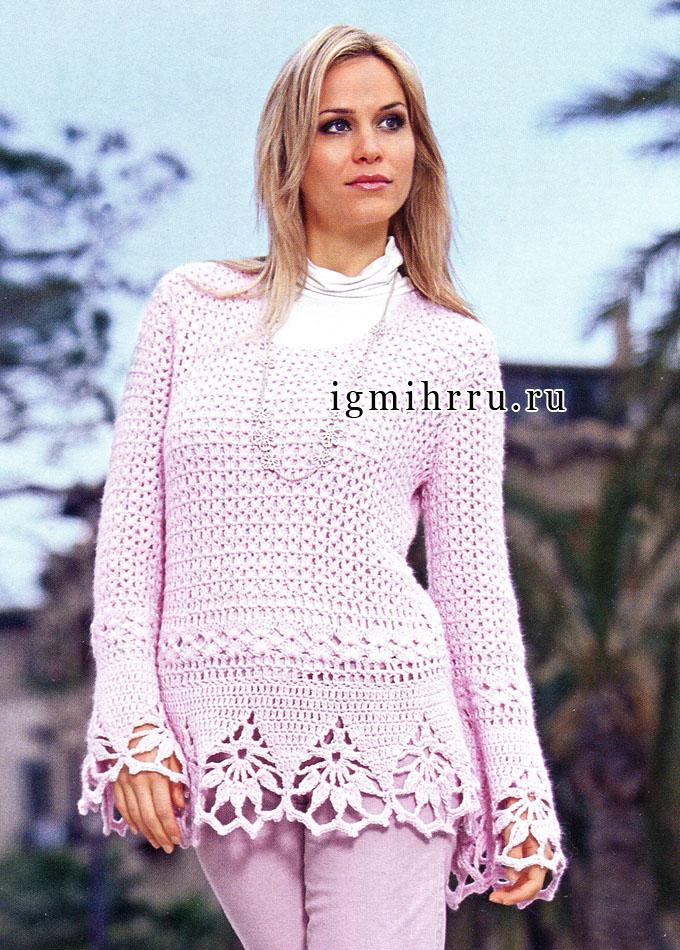 Теплый розовый пуловер с кружевной каймой. Крючок