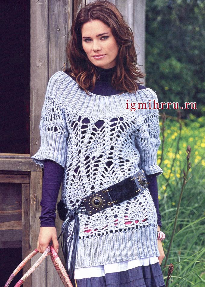 Светло-серый пуловер из мериносовой шерсти, с узором ананасы. Крючок и Спицы
