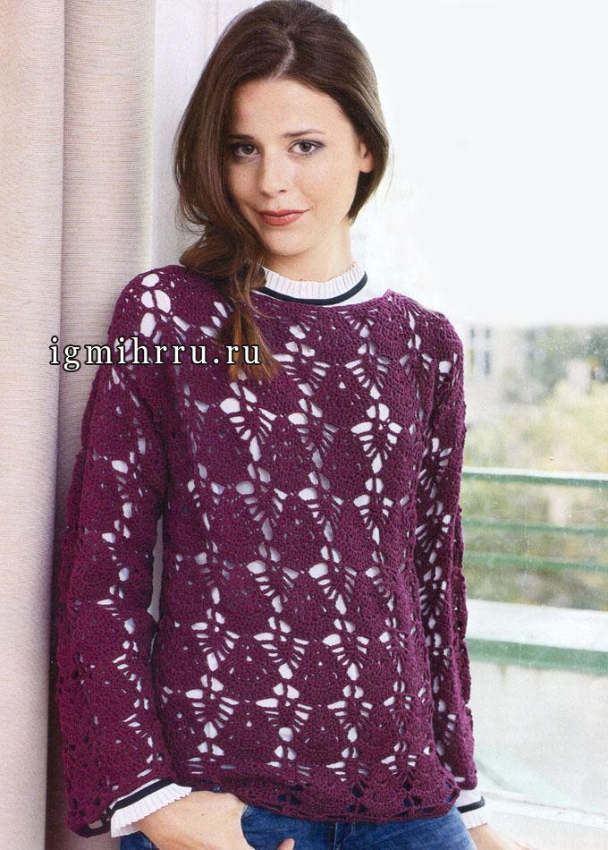 Красивый ажурный пуловер рубинового цвета. Вязание крючком