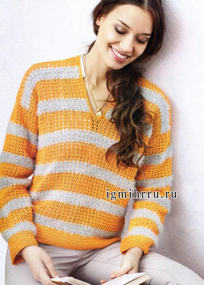 Пуловер из фактурных полосок. Вязание крючком