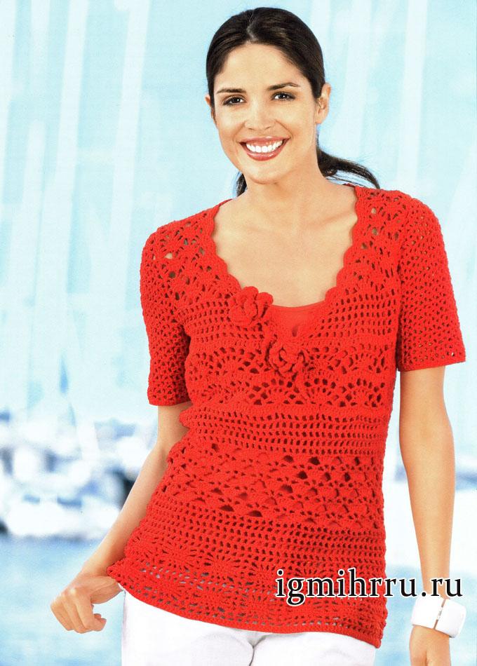 Микс красивых узоров. Летний пуловер красного цвета. Вязание крючком