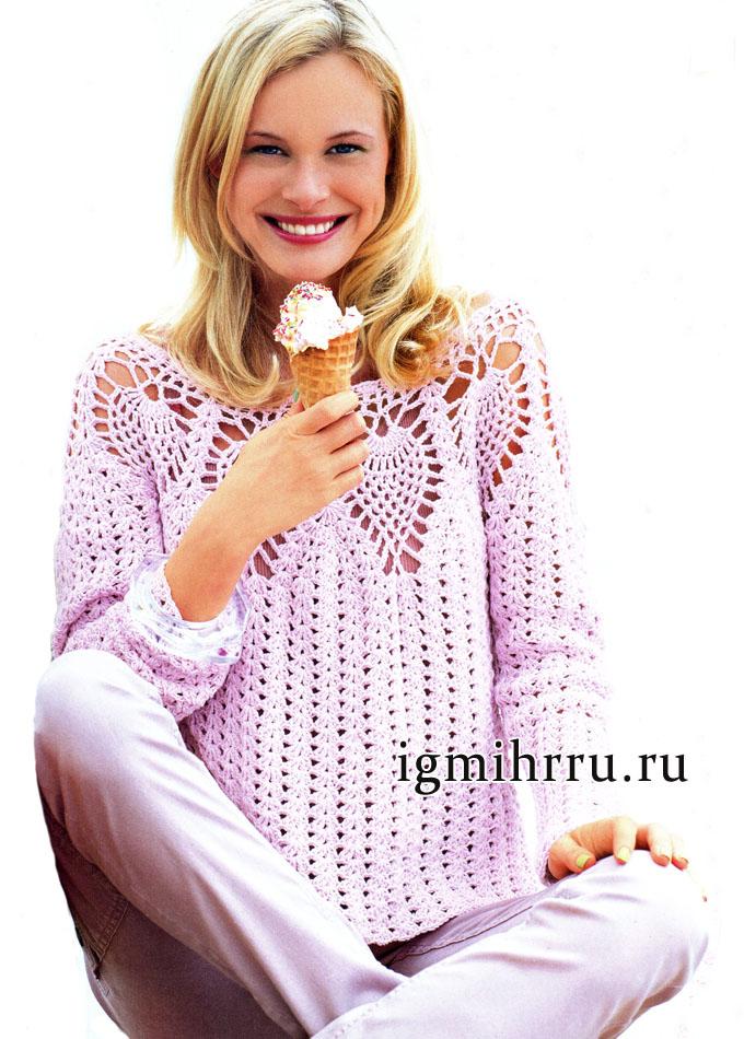 Розовый пуловер с круглой кокеткой из ананасов. Вязание крючком