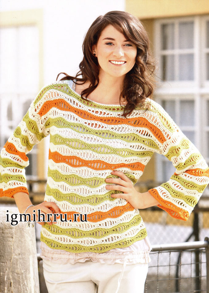 Пуловер из шелковой пряжи, с волнистым узором. Вязание крючком