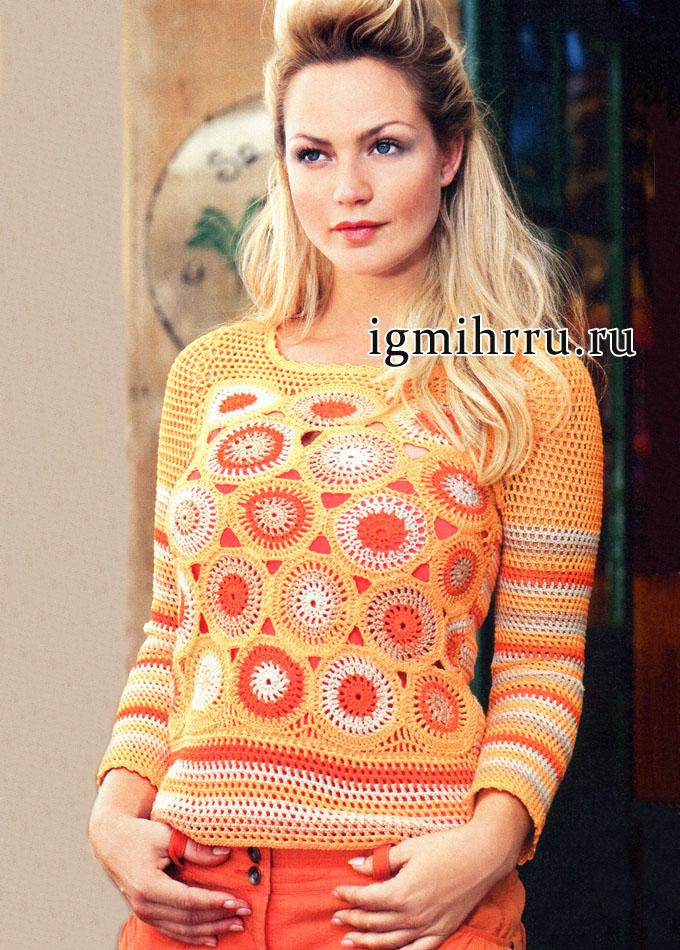 Яркий летний пуловер в стиле пэчворк. Вязание крючком