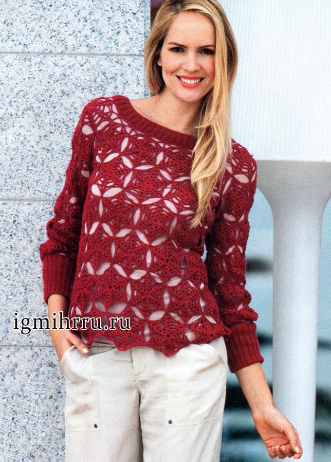 Темно-красный пуловер со звездами. Вязание крючком