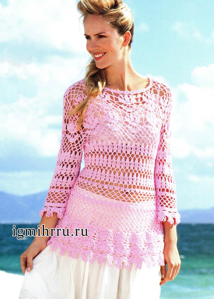 Узорчатый летний пуловер розового цвета. Вязание крючком