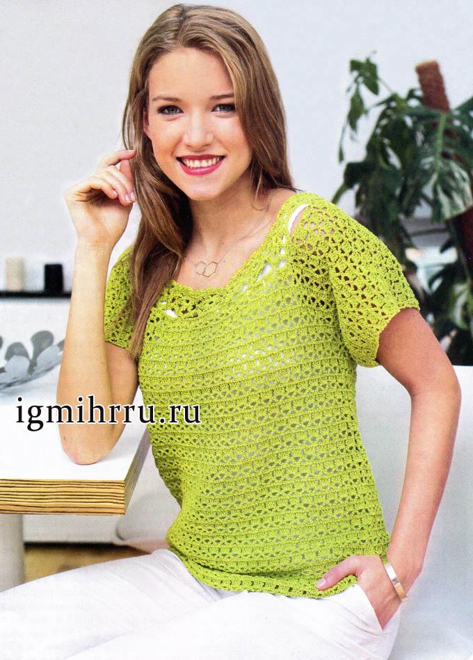 Пуловер цвета майской зелени, из хлопковой пряжи с шелком. Вязание крючком