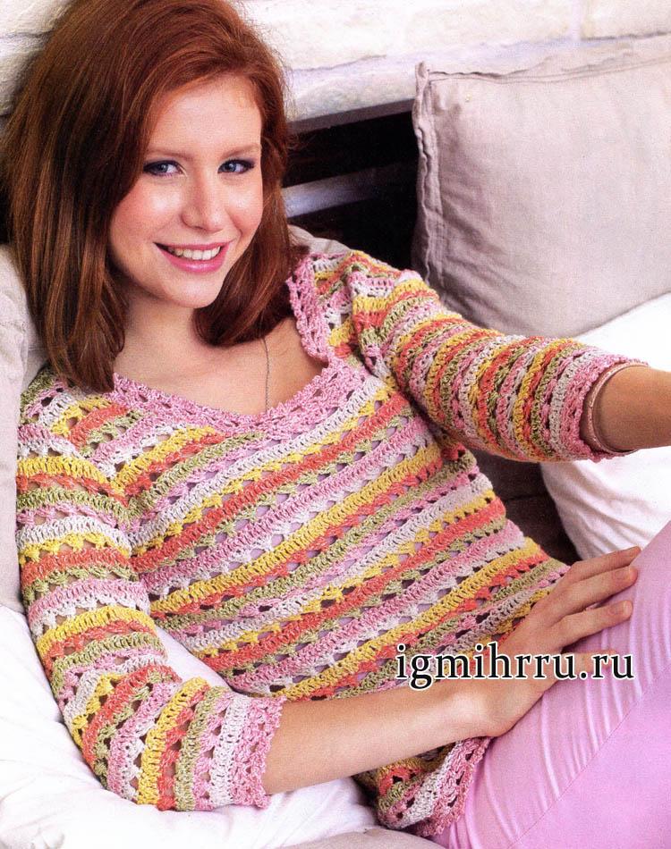 Весенне-летний женственный пуловер с кружевной каймой. Вязание крючком