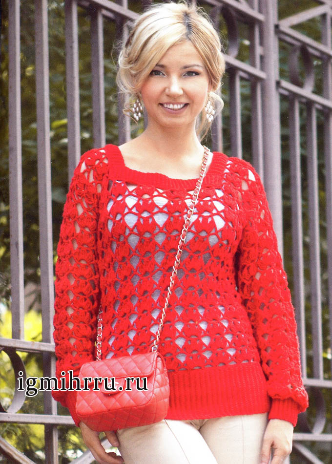 Яркий красный пуловер с крупным узором. Вязание крючком
