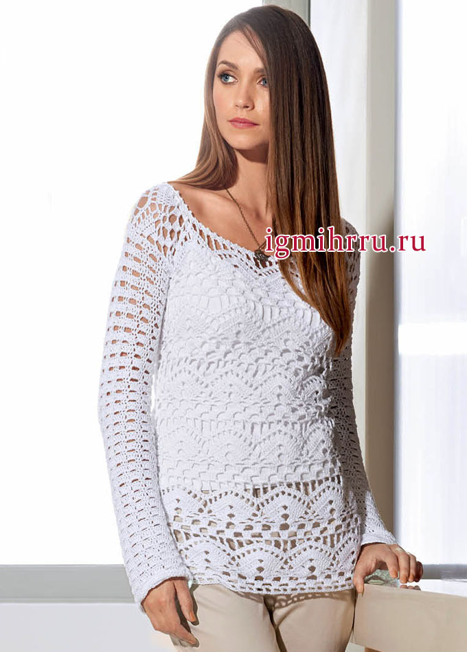 Элегантный женственный пуловер из сияющего белого кружева, от Lana Grossa. Вязание крючком
