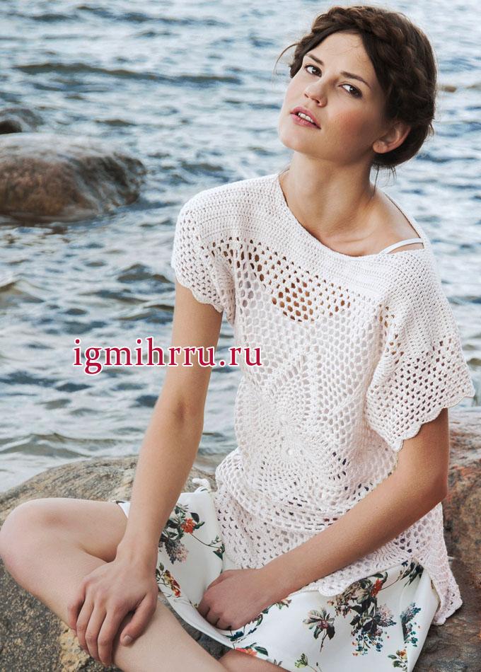 Белый летний пуловер с крупным мотивом ананас, от финских дизайнеров. Вязание крючком