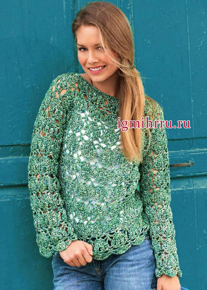 Ажурный пуловер прямого силуэта, из зеленой хлопковой пряжи. Вязание крючком