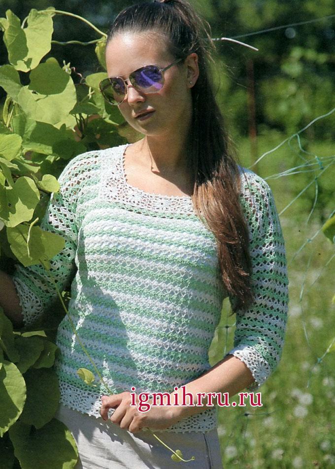 Романтичный летний пуловер в полоску, с ажурными мотивами. Вязание крючком