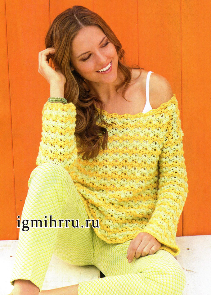 Свободный желто-зеленый пуловер с узором из пышных столбиков, от немецких дизайнеров. Вязание крючком