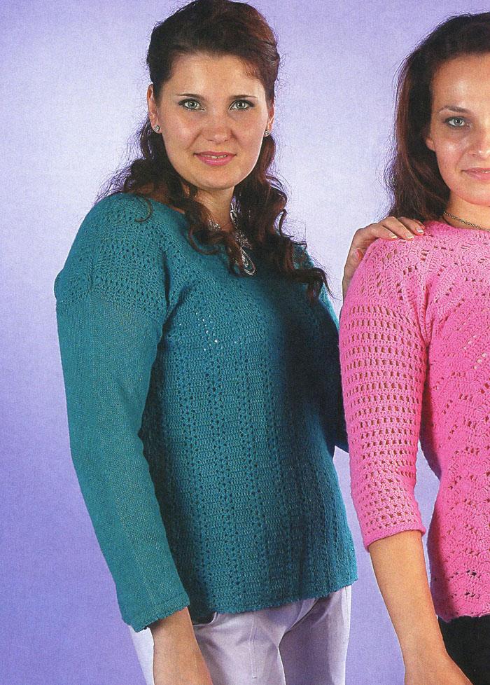 Классический шерстяной пуловер бирюзового цвета, с вертикальными дорожками. Вязание крючком