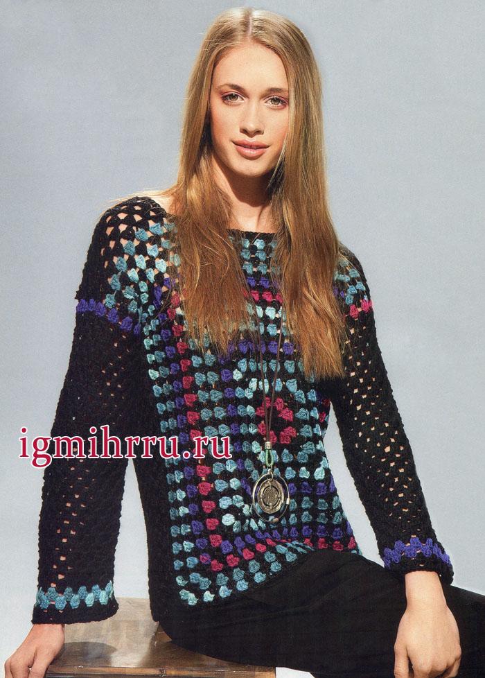Разноцветный ажурный пуловер с квадратным мотивом, от испанских дизайнеров. Вязание крючком