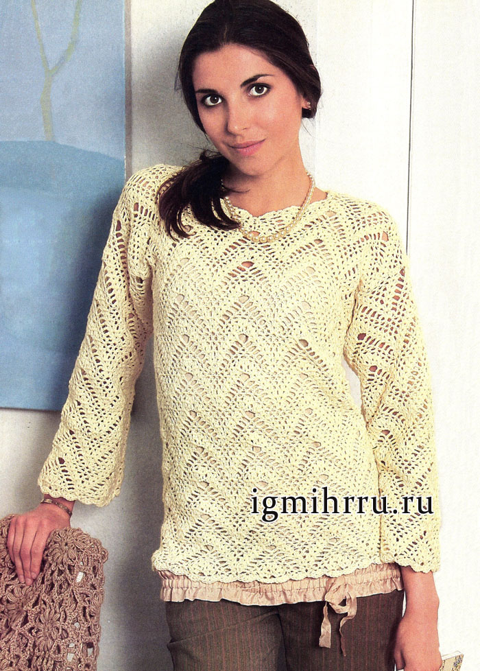 Пуловер цвета экрю с узором из зигзагов. Вязание крючком