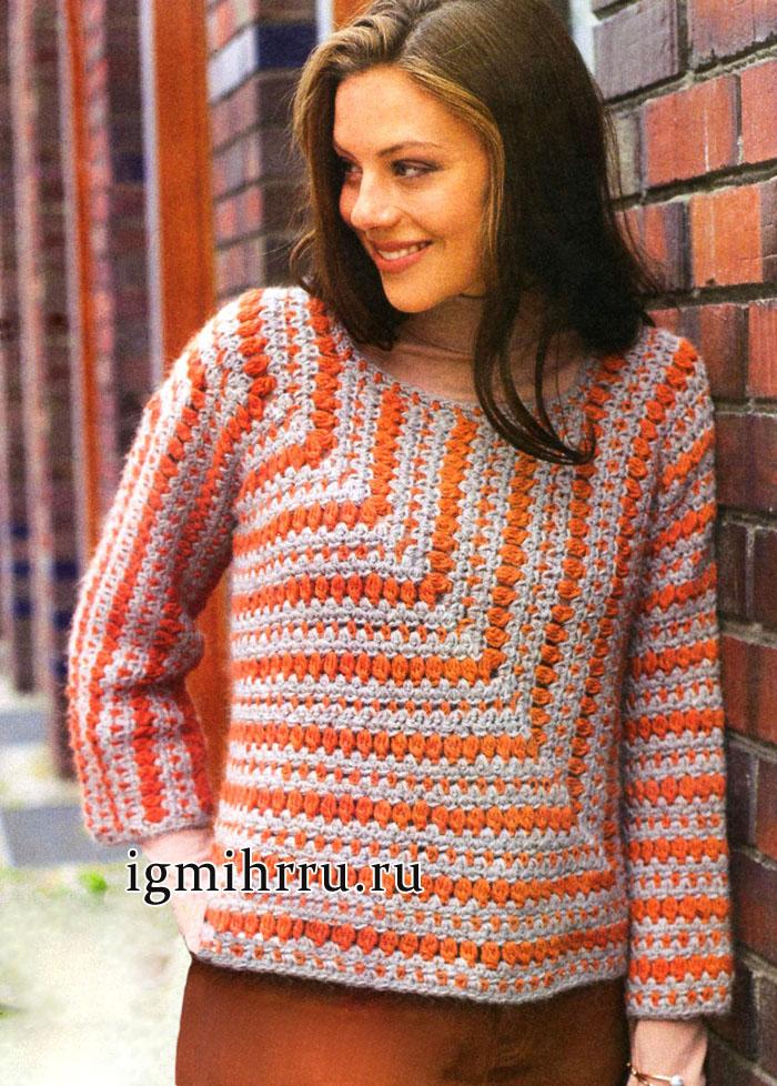 Двухцветный пуловер из шерсти альпака, связанный единым полотном. Вязание крючком