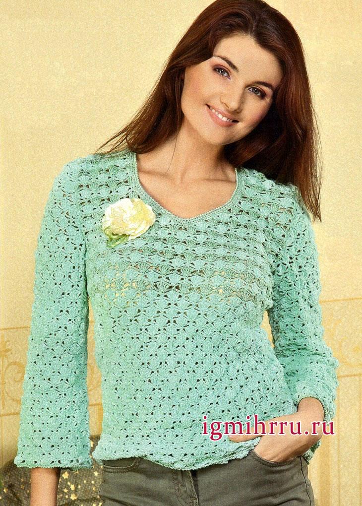 Ажурный пуловер нежного салатного цвета. Вязание крючком