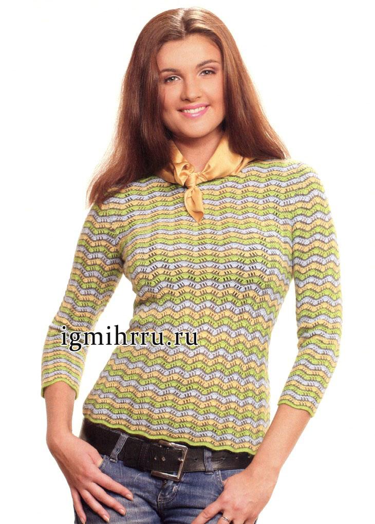 Полосатый зигзагообразный пуловер из шерсти альпака. Вязание крючком