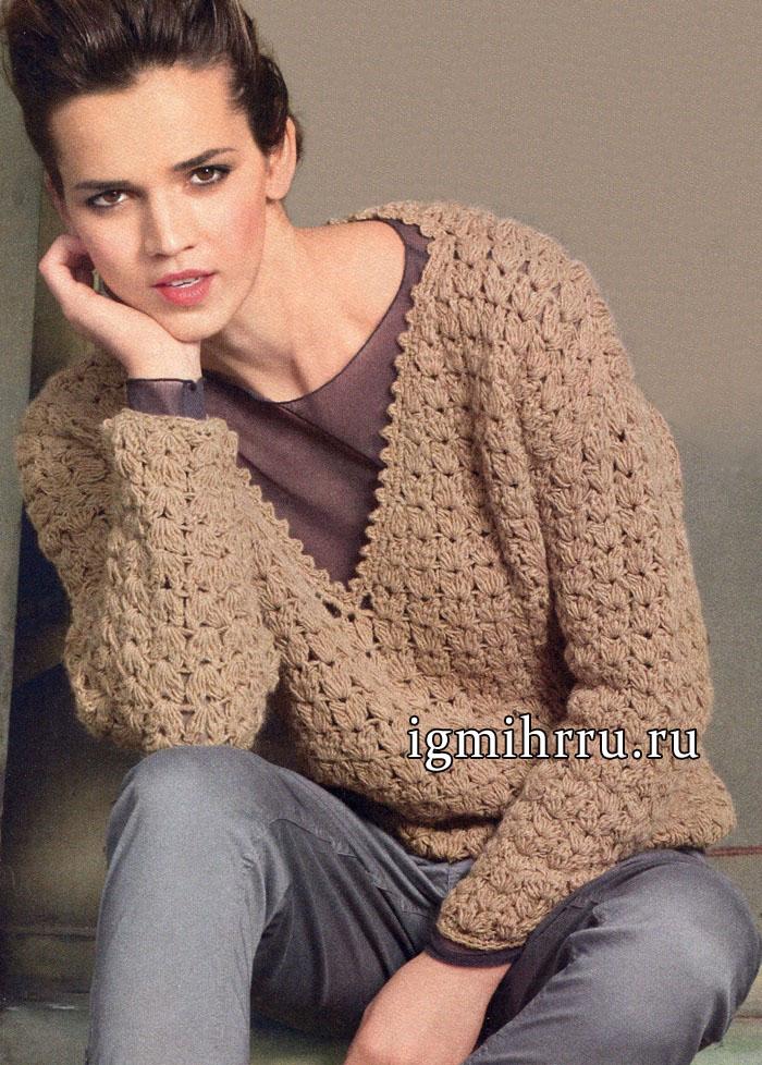 Пуловер цвета верблюжьей шерсти, с V-образным вырезом горловины и красивым узором из пышных столбиков. Вязание крючком