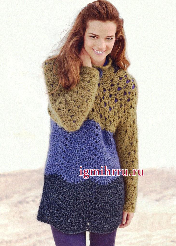 Теплый удлиненный пуловер в модной гамме трех цветовых оттенков. Вязание крючком