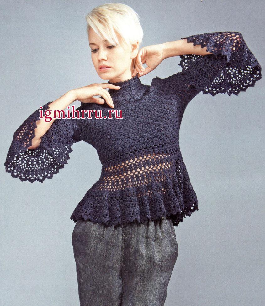 Нарядный черный пуловер из шелковой пряжи с добавлением шерсти. Вязание крючком