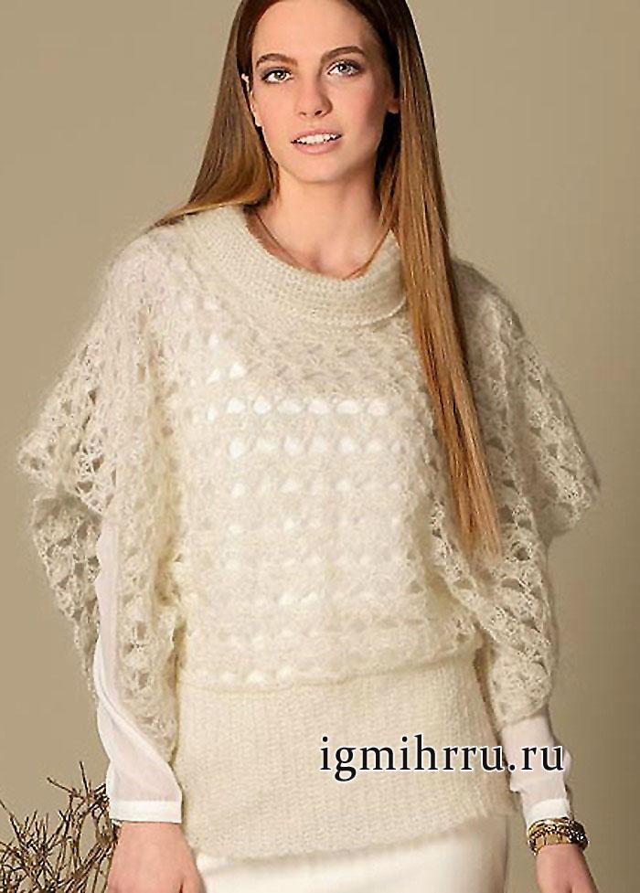 Легкий и мягкий пуловер-пончо кремового цвета. Вязание крючком