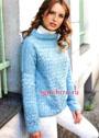 Теплый и мягкий пуловер голубого цвета, с ажурным и структурным узорами. Крючок