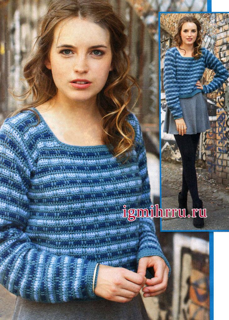 Шерстяной пуловер с полосатым жаккардовым узором. Вязание крючком